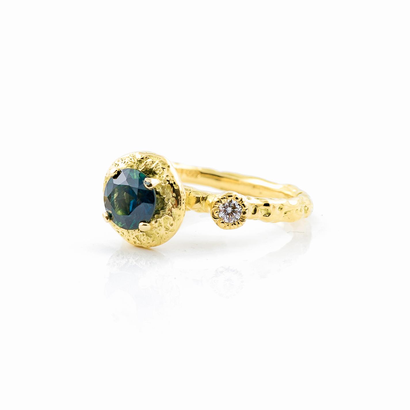 Surfacing Engagement Ring   18ct yellow gold, Australian sapphire, white diamonds.