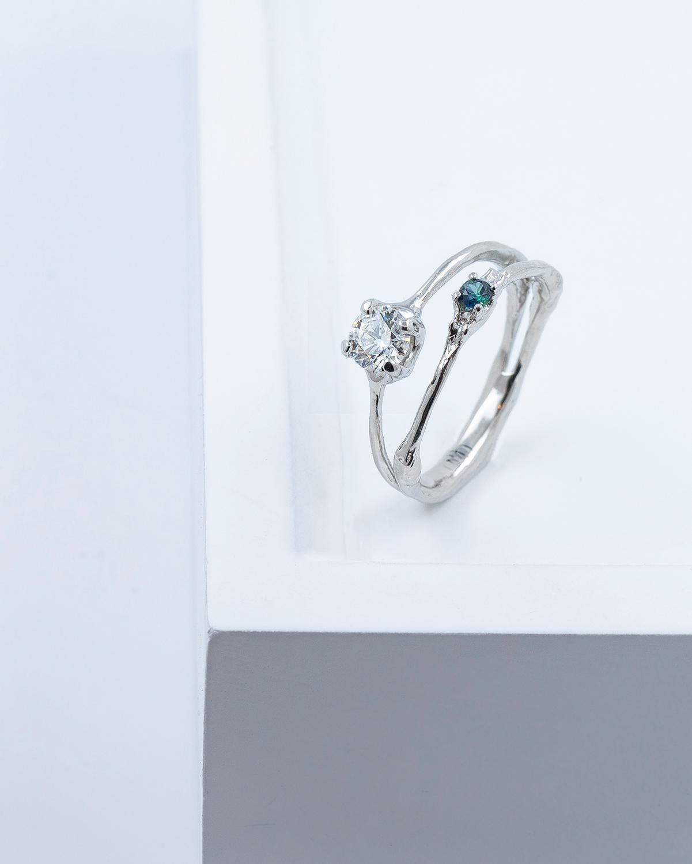 Towers Band   Platinum, white diamond, Australian parti sapphire.