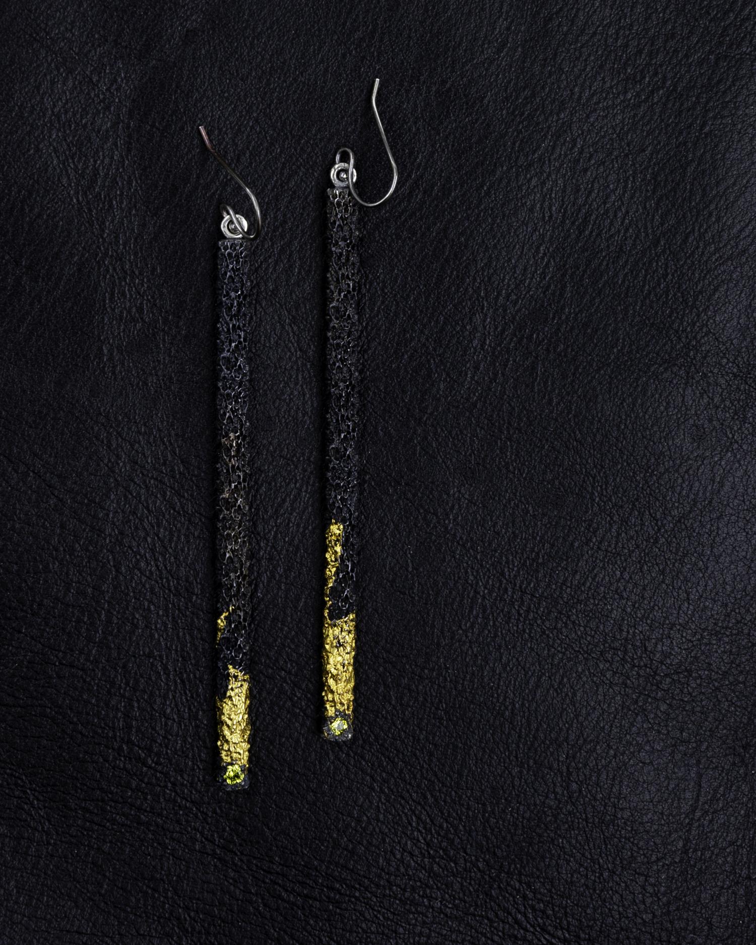 Graceful Inner Island Long Column Earrings |  Sterling silver, keum-boo 24ct gold, yellow Australian sapphires.