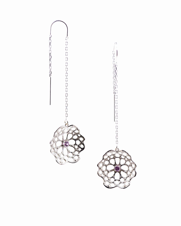 Threaded radial earrings |  Sterling silver, pink sapphire.