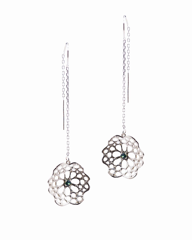 Threaded radial earrings |  Sterling silver, Australian parti sapphire.