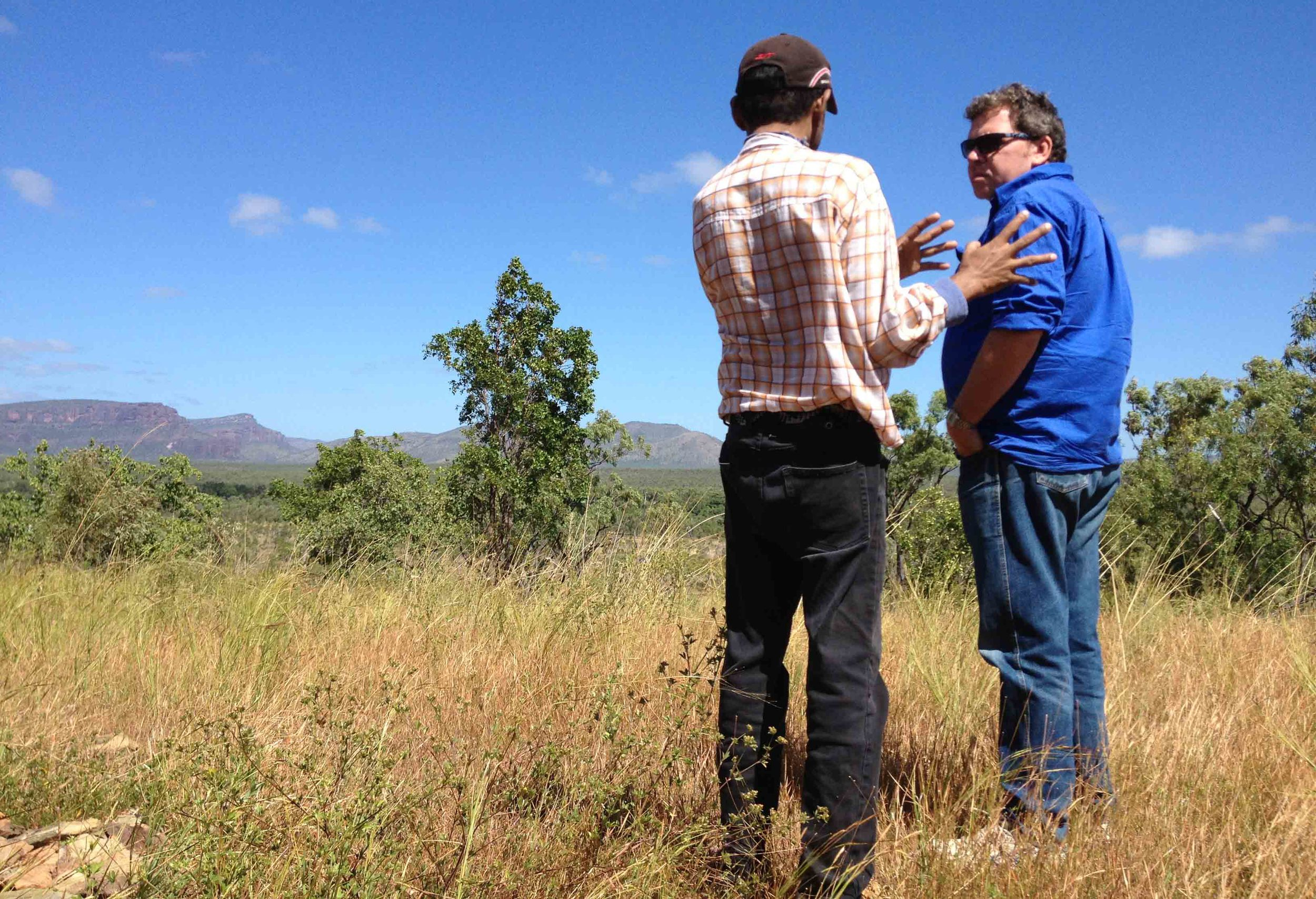 Rowan talks with traditional owner on country near Mareeba, Queensland