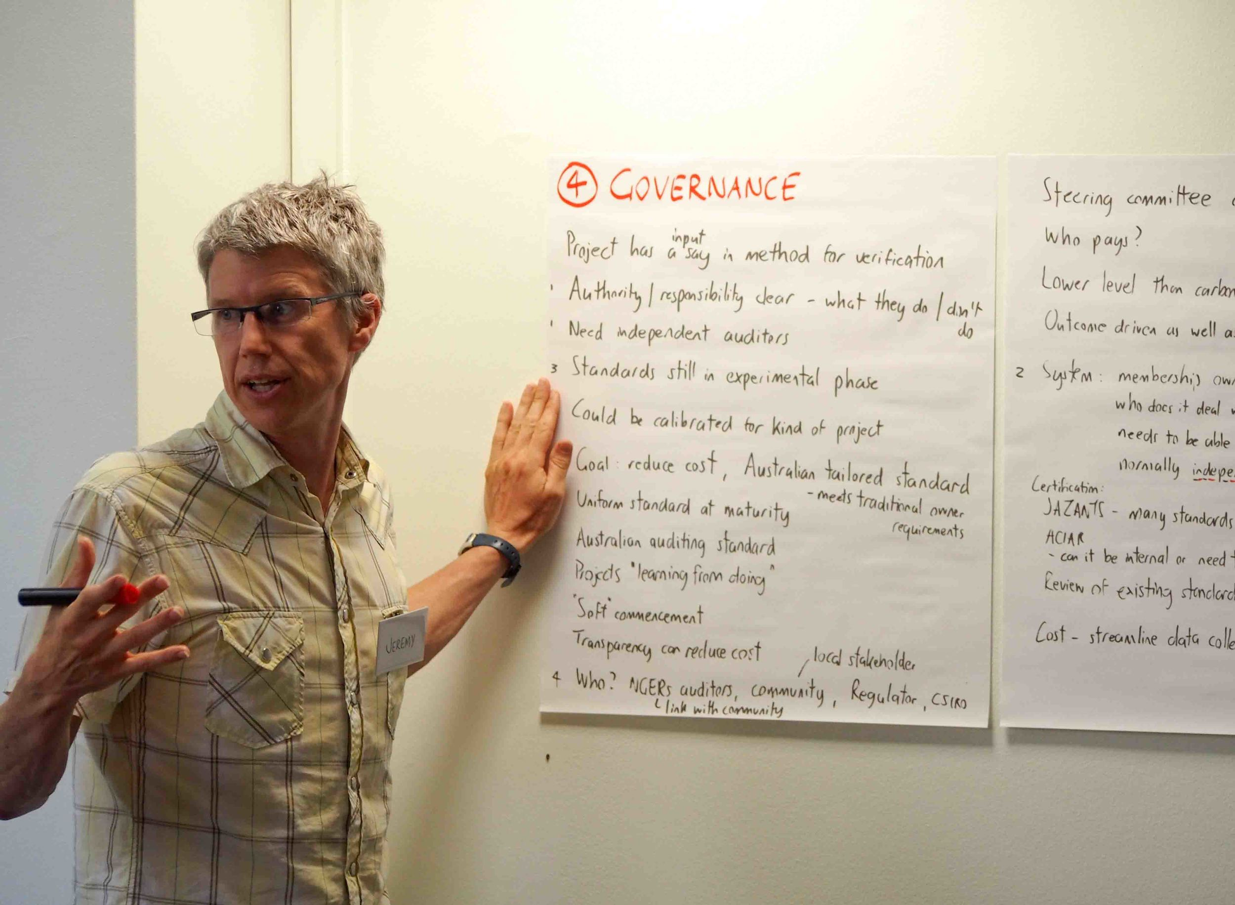 Jeremy Dore, Aboriginal Carbon Fund, reporting back from the governance group