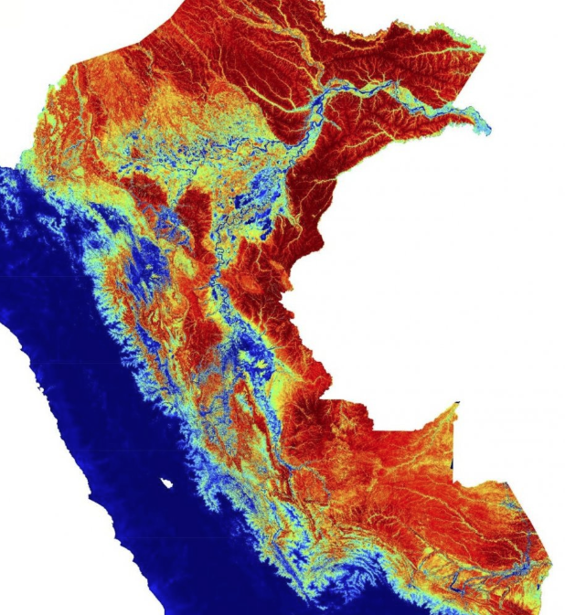 Peruvian carbon supermap: note the blue areas with very low carbon and areas of red with very high carbon. Source: Carnegie Airborne Observatory