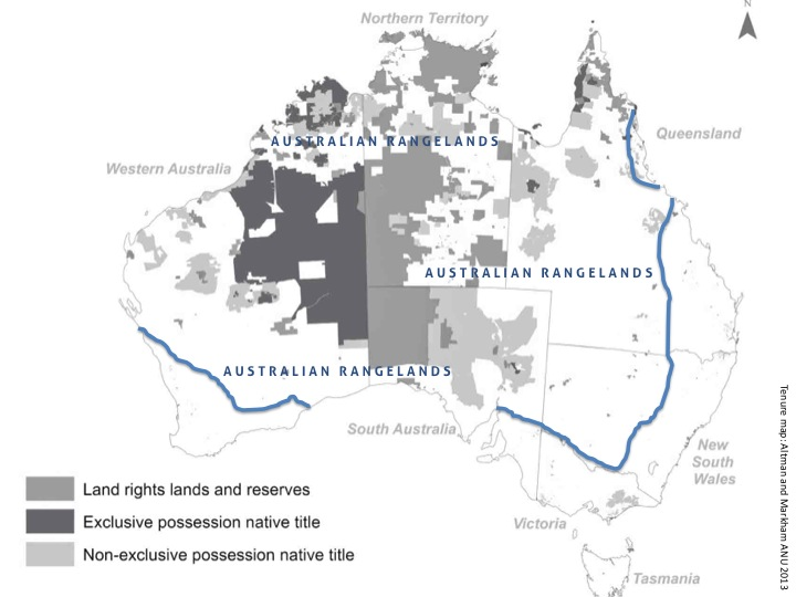 Extent of Australian rangelands showing overlap with Indigenous land