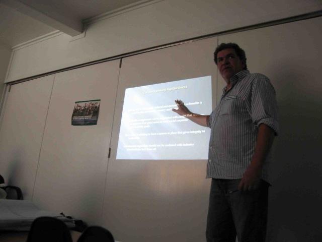 Rowan presenting on carbon farming as an agribusiness