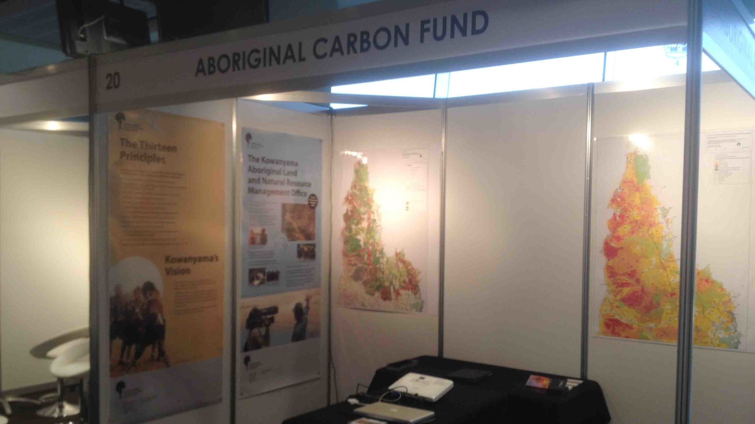 The Aboriginal Carbon Fund stall takes shape