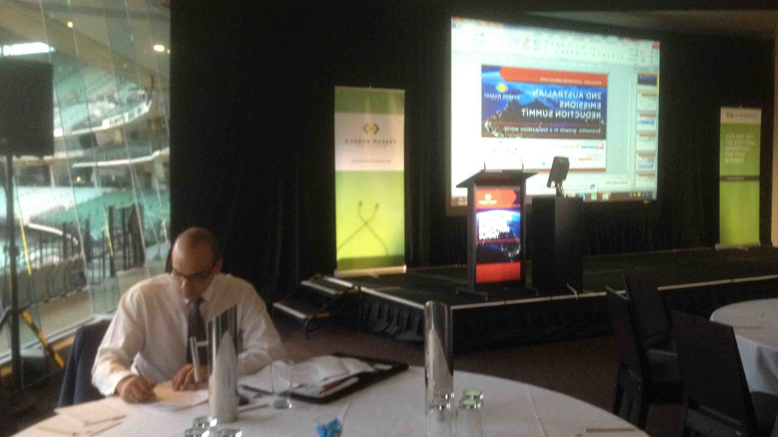 Summit honcho, Peter Castellas, putting the touches to the opening address