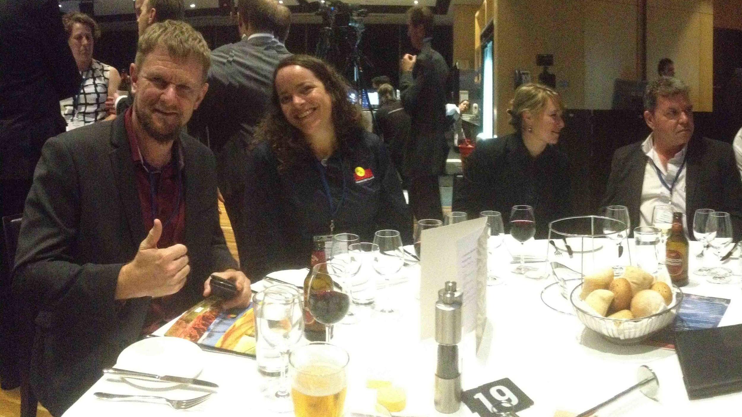 Famous faces enjoying dinner on table 19