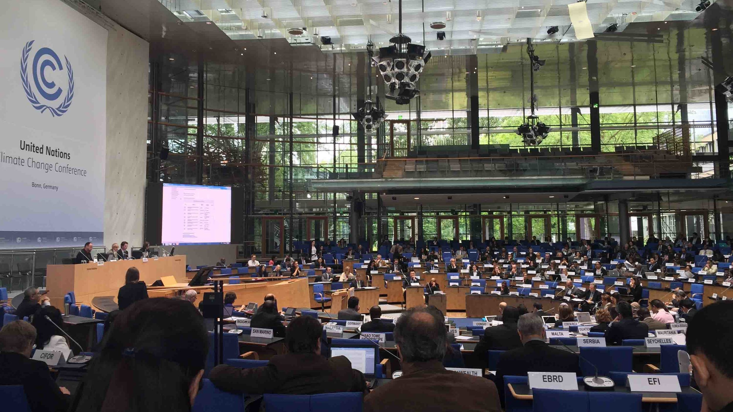 The UN 'Conference of the Parties' main floor in Bonn