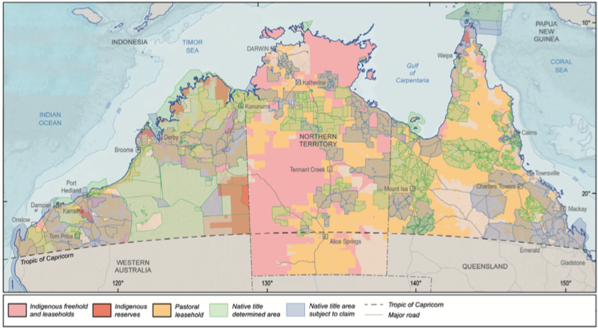 Map of northern Australia showing the different kinds of land tenure. Source: Geoscience Australia in the White Paper