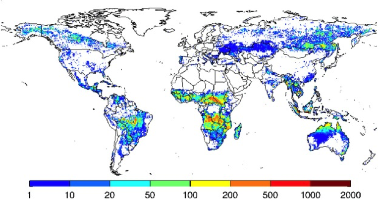 Map showing global fire activity. Source:  Global Fire Emissions Database