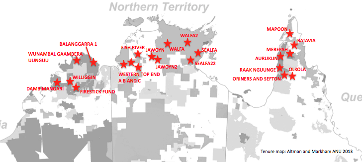 Map showing 22 Indigenous savanna projects across the north of Australia