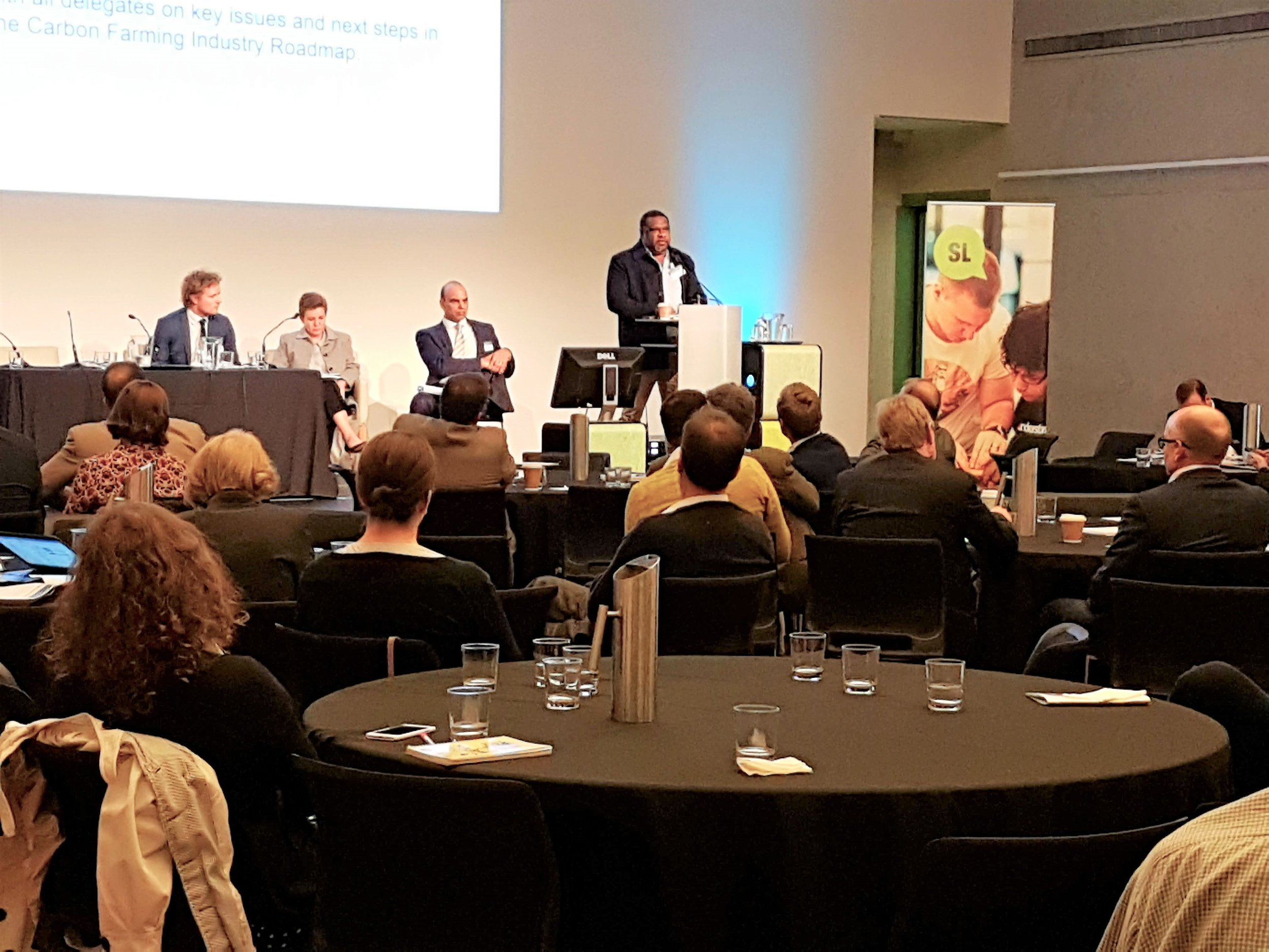 Aboriginal Carbon Fund Regional Manager Barry Hunter speaking at the Carbon Farming Industry Summit in Brisbane. (Photo: Lauren Bowyer)