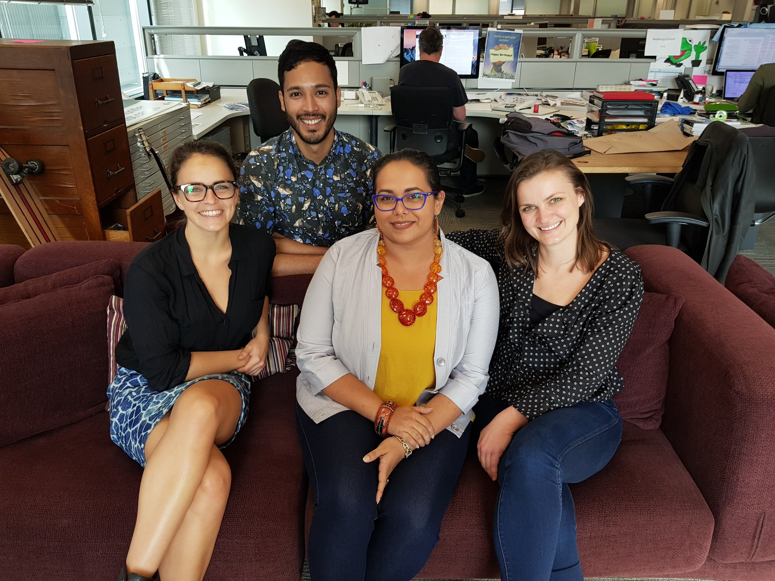 AbCF Community Development Officer Lauren (middle seated) with (from left to right) Kayla, Law & Monique from Essential Media Sydney.