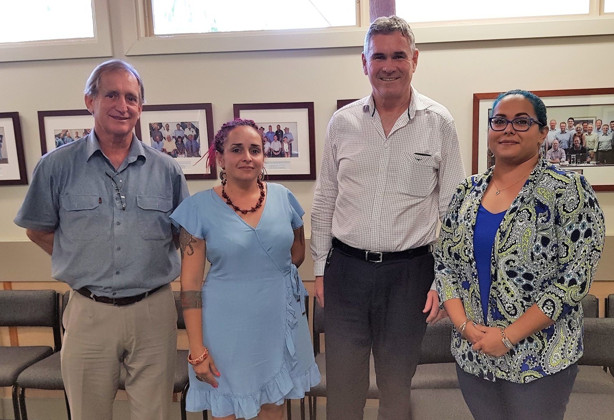 Cook Shire Mayor Peter Scott, Councillor Larissa Hale, Cook Shire CEO Tim Cronin with AbCF Community Development Officer Lauren Bowyer
