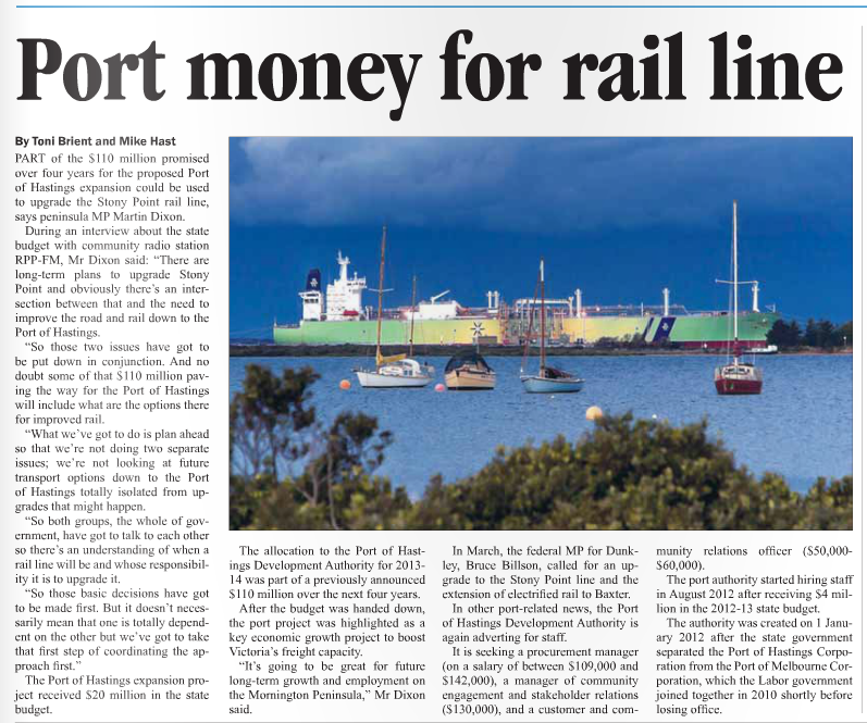 Published in Westernport News on 20 May, 2013.