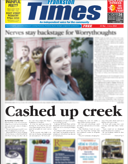Front page of Frankston Times 23 May, 2013