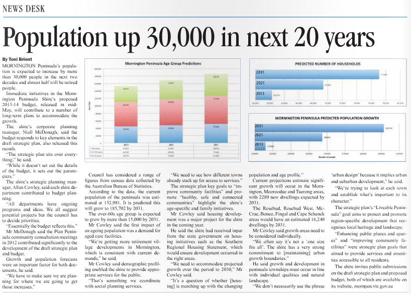 Published in Mornington News on 27 May, 2013