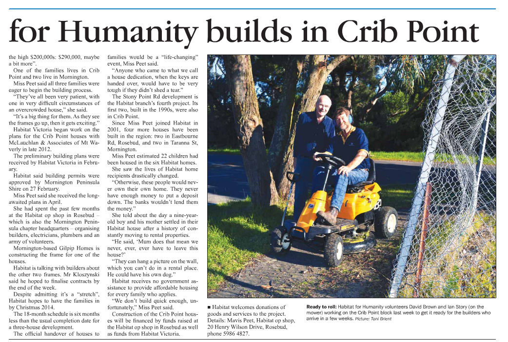Published in Mornington News and Westernport News on July 1, 2013.