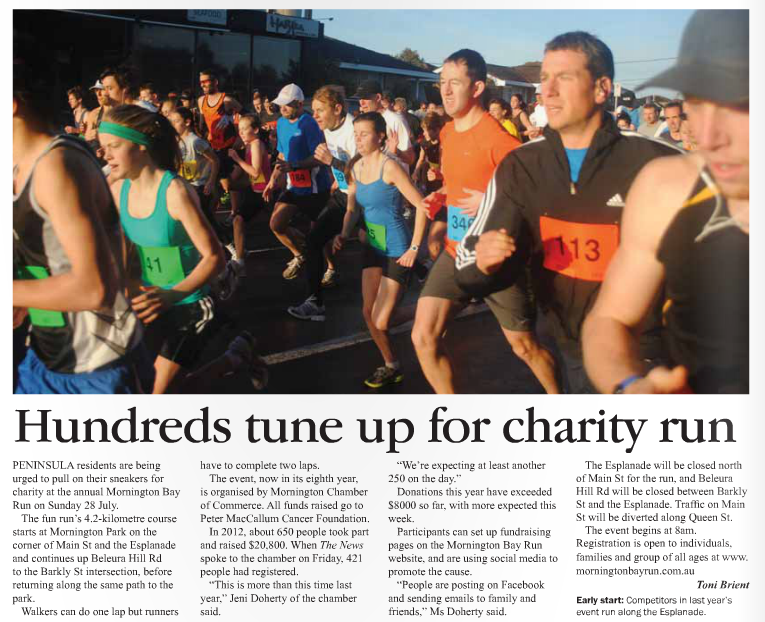 Published in Mornington News on 22 July, 2013.