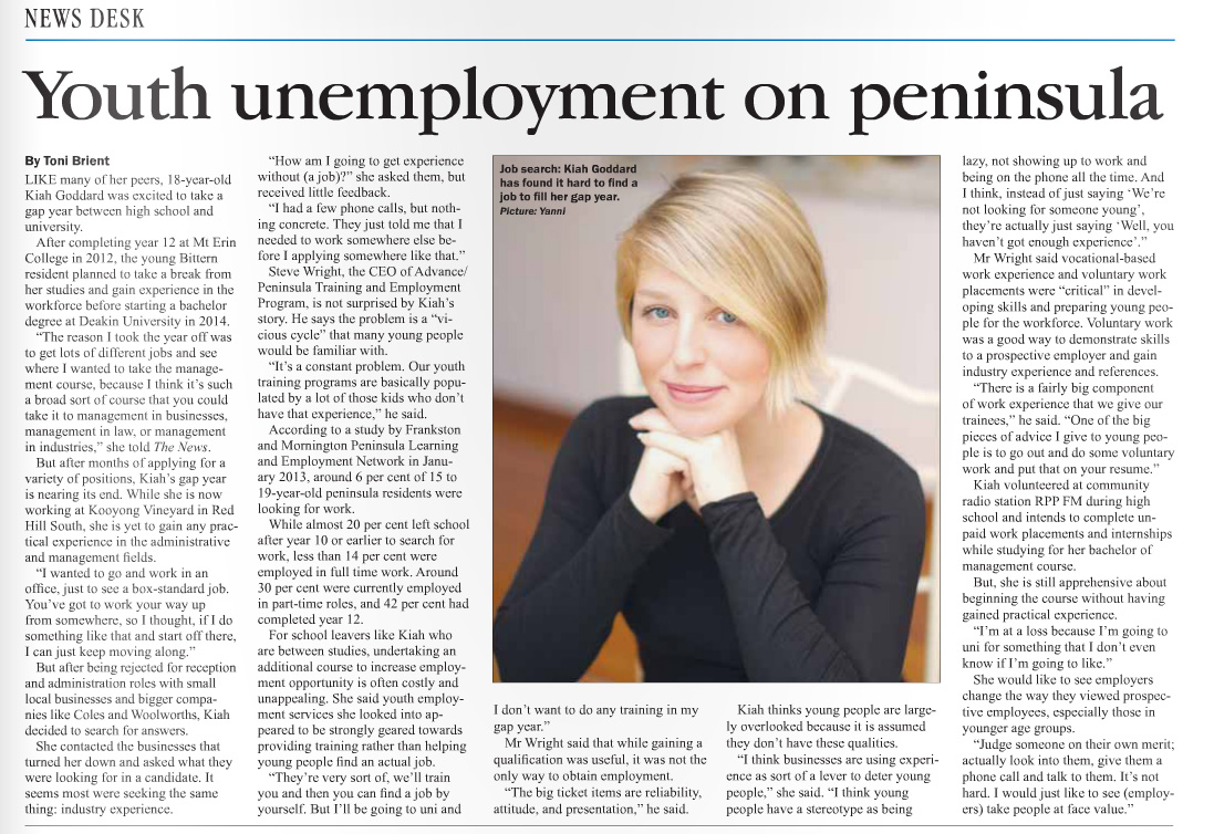 Published in Mornington News and Westernport News on 29 July, Frankston Times on 1 August, and Southern Peninsula News on 8 August, 2013.