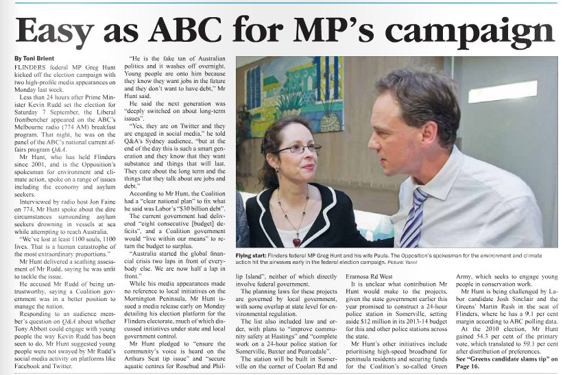 Published in Westernport News on 12 August. 2013.