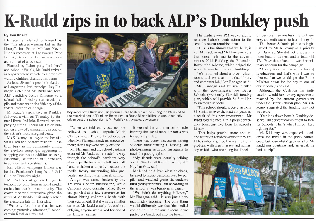 Published in Mornington News and Westernport News on 12 August, 2013.