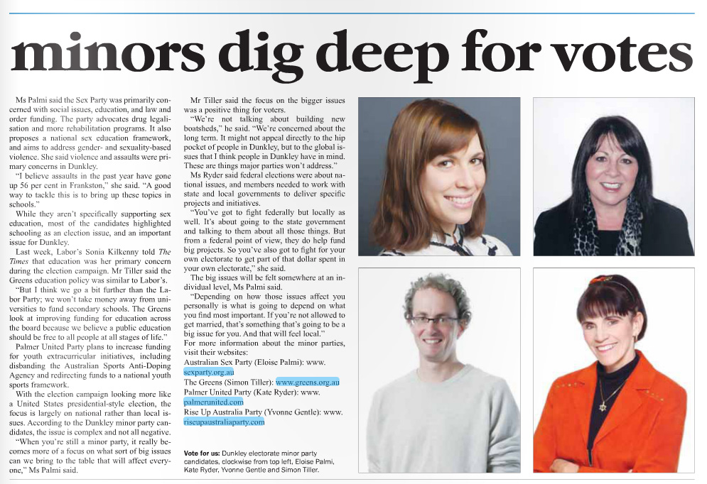 Published in Frankston Times on 15 August, 2013.