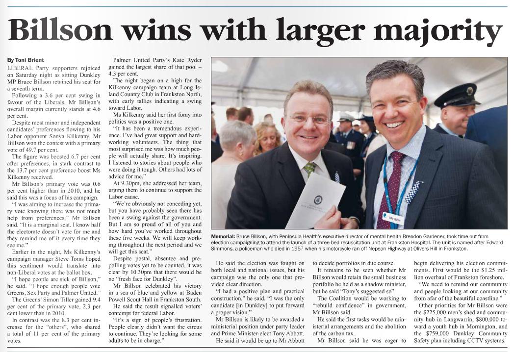 Published in Mornington News on 9 September, 2013.