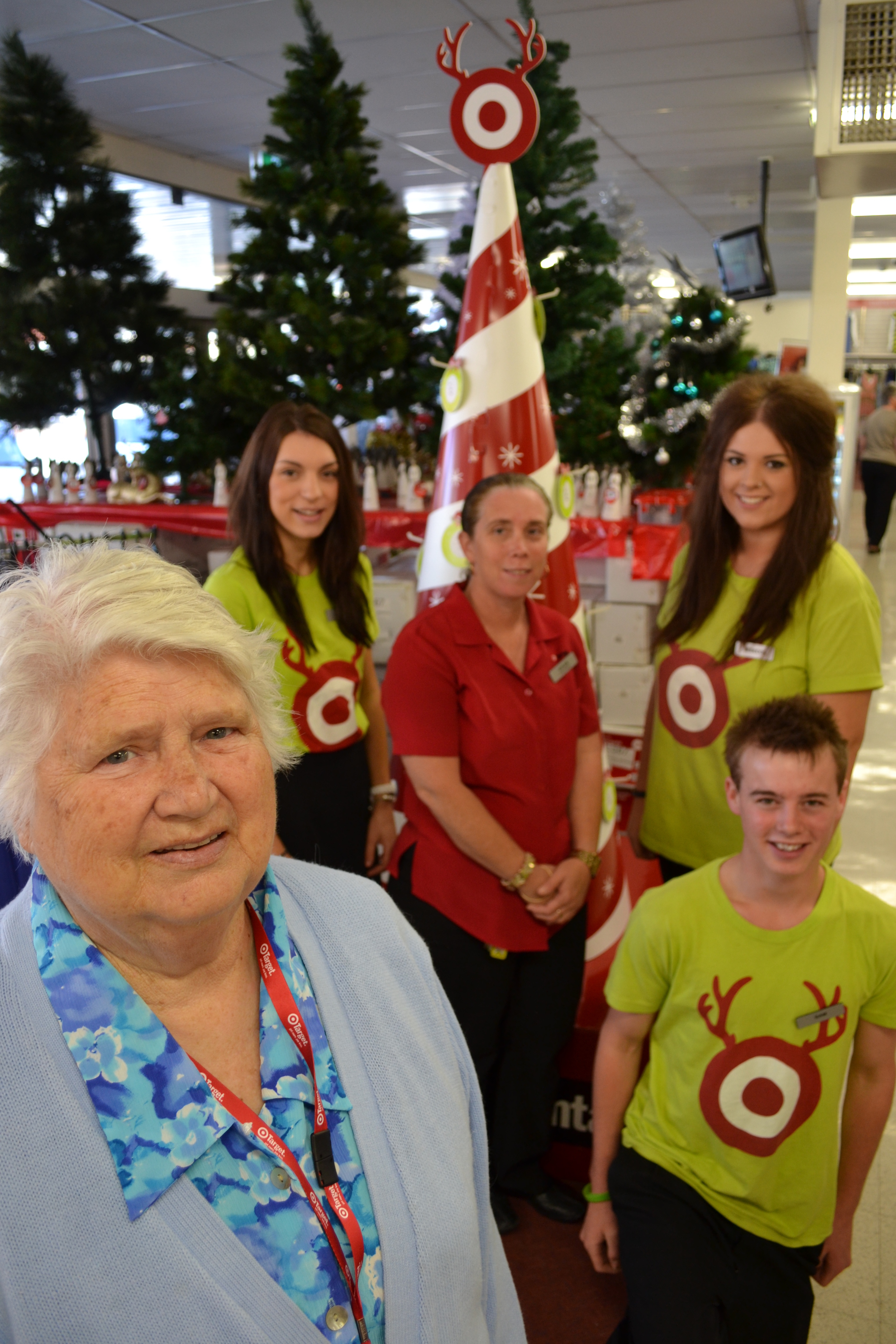 Operation Santa: UnitingCare Cobram coordinator Bev Anderson has enlisted the help of Target Country staff to make sure there are no empty Christmas stockings in town. Picture: Toni Brient.