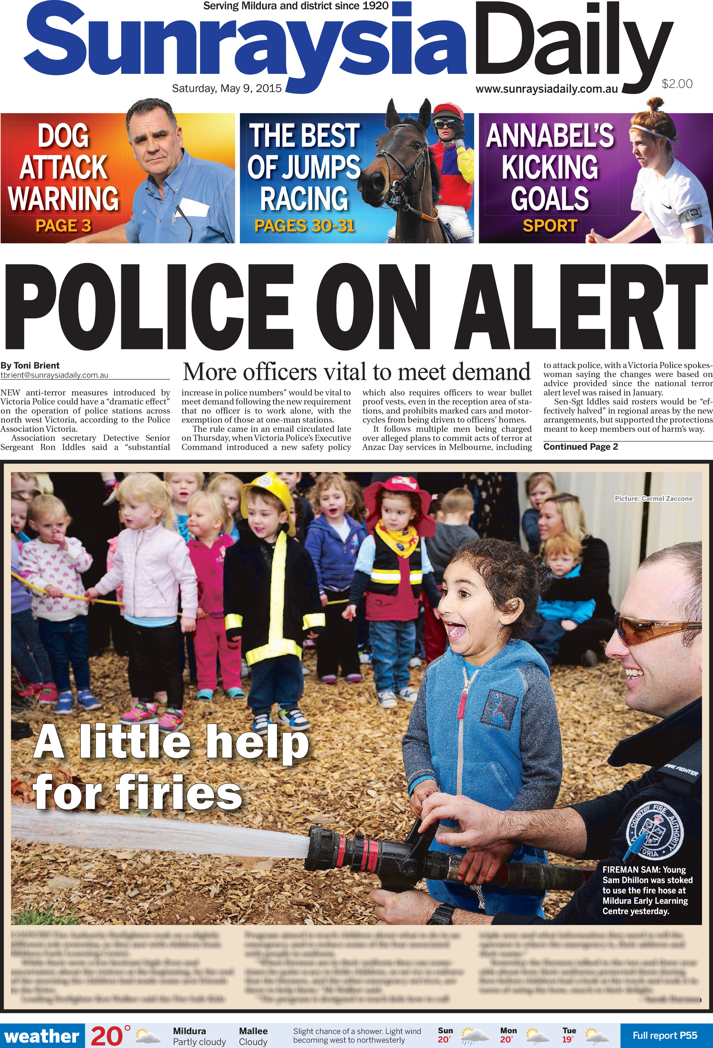 Police on alert , Sunraysia Daily, May 9, 2015.Click on images below to enlarge text