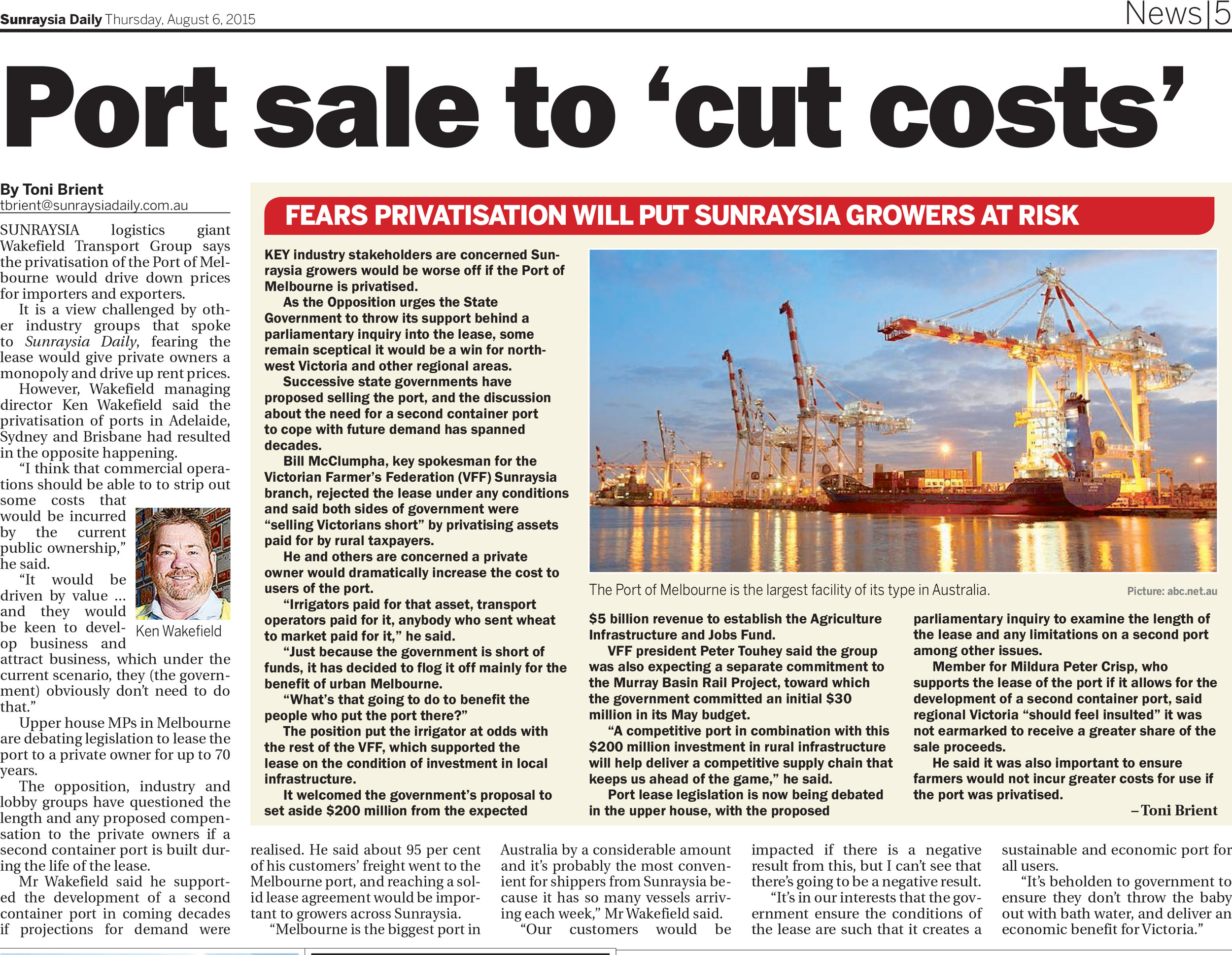 Port sale to 'cut costs' , Sunraysia Daily, August 6, 2015.