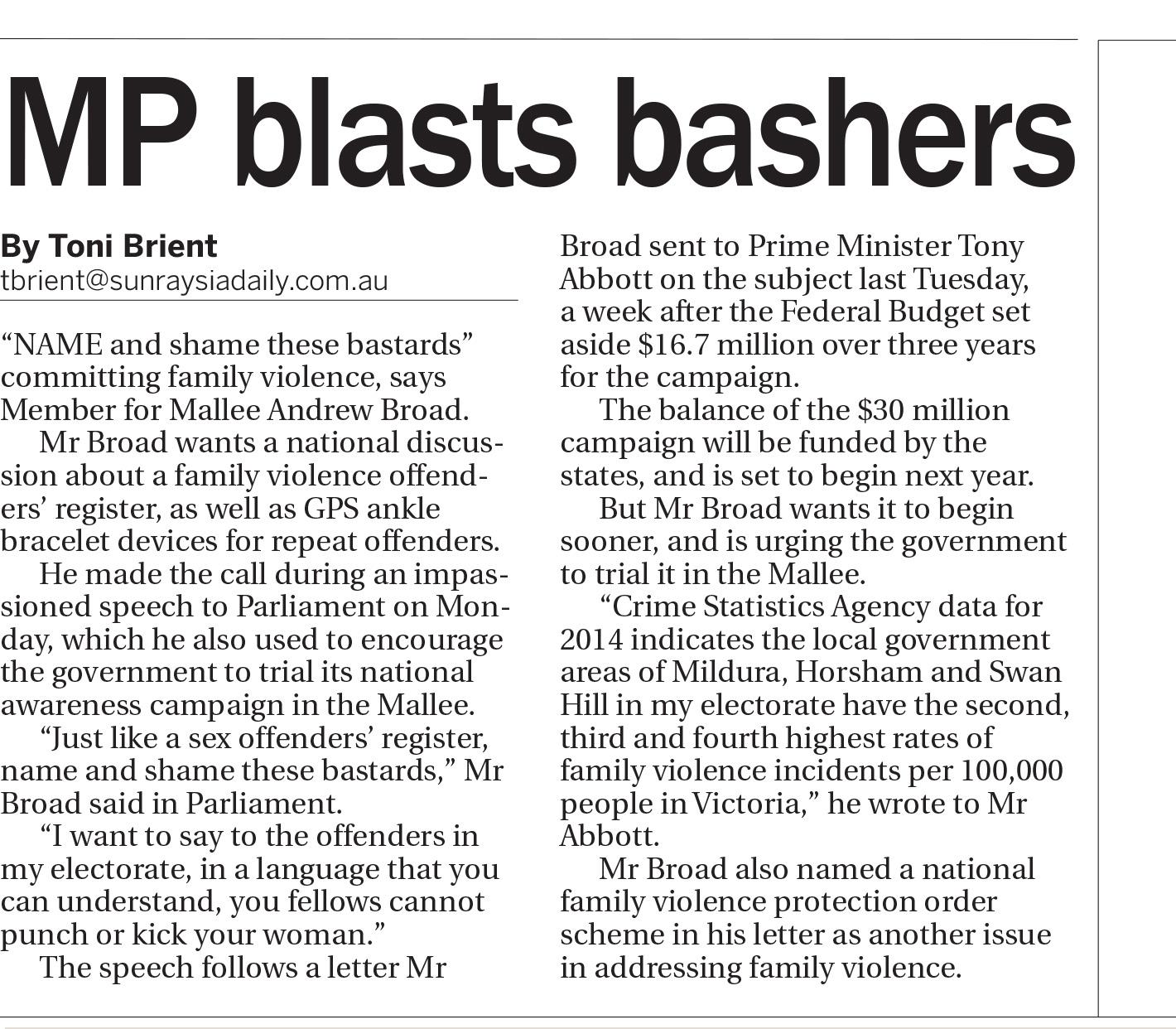 MP blasts bashers , Sunraysia Daily, May 27, 2015.