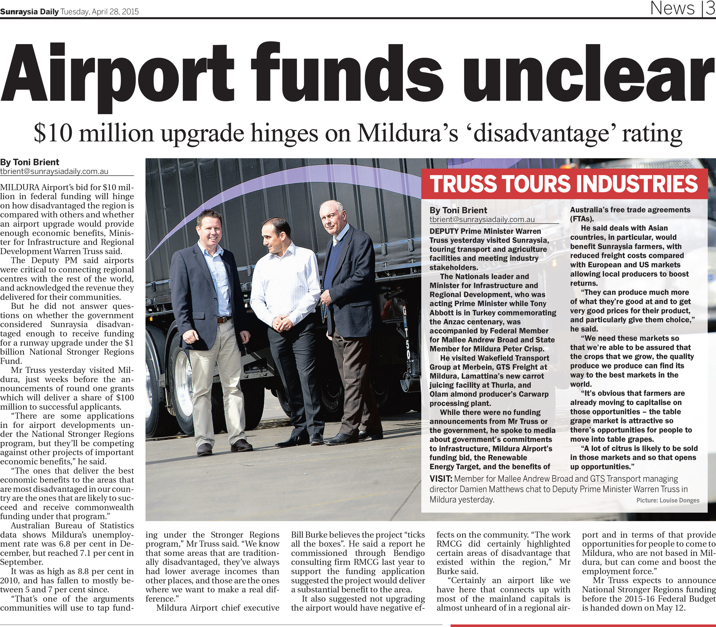Airport funds unclear , Sunraysia Daily, April 28, 2015.