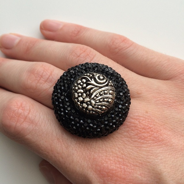 Sparkly black snd silver statement ring. The silver button is antique #52buttons