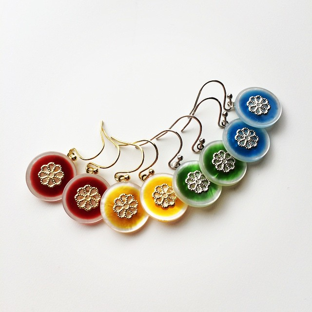 Colourful button earrings with flower detail #52buttons