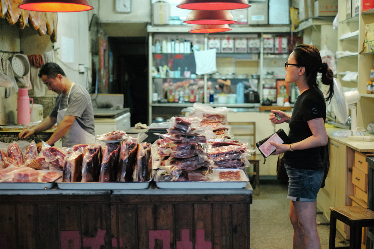 Smoking in the local butcher