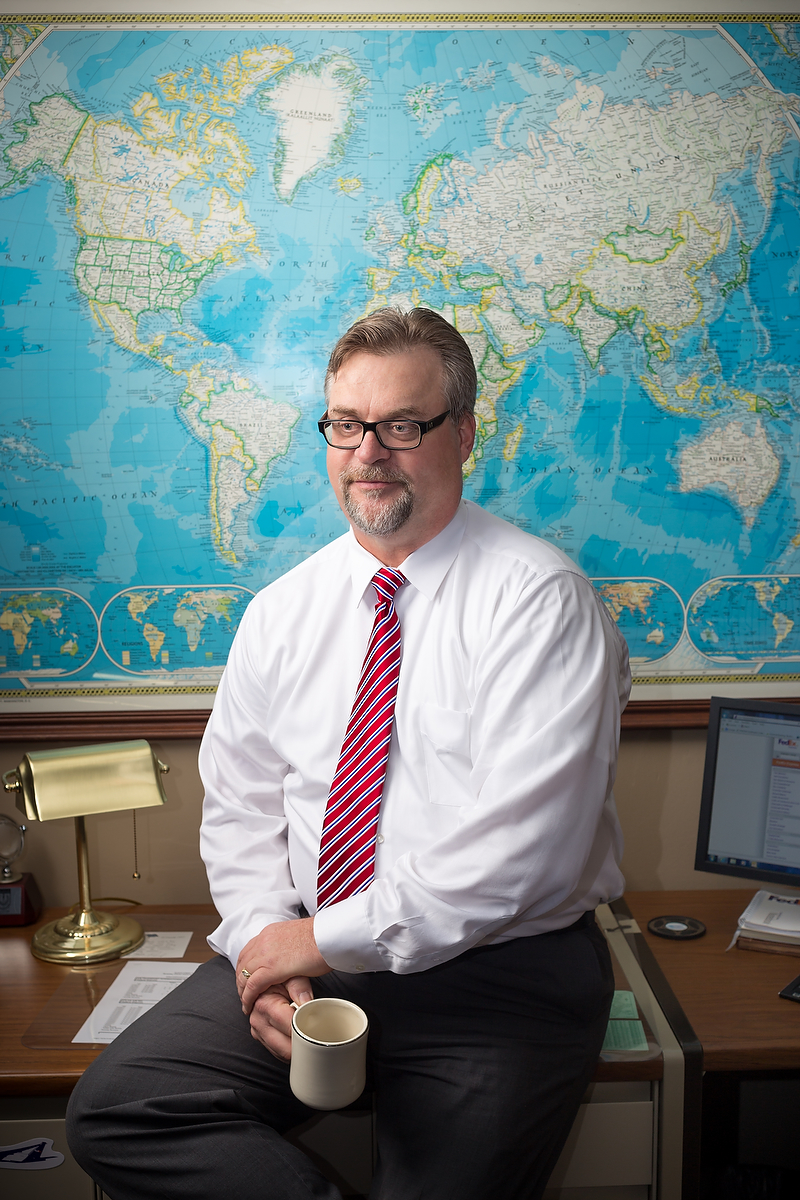 Dave Lange in his office at FedEx headquarters in Memphis, Tennessee for Popular Science Magazine. December 2013. Photo credit: Jacob Slaton