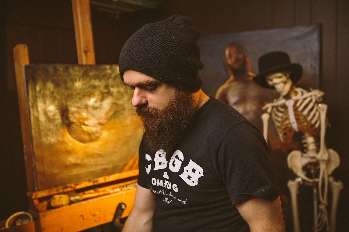 Stephen Cefalo in his studio in North Little Rock, Arkansas. February 2014. Photo credit: Jacob Slaton