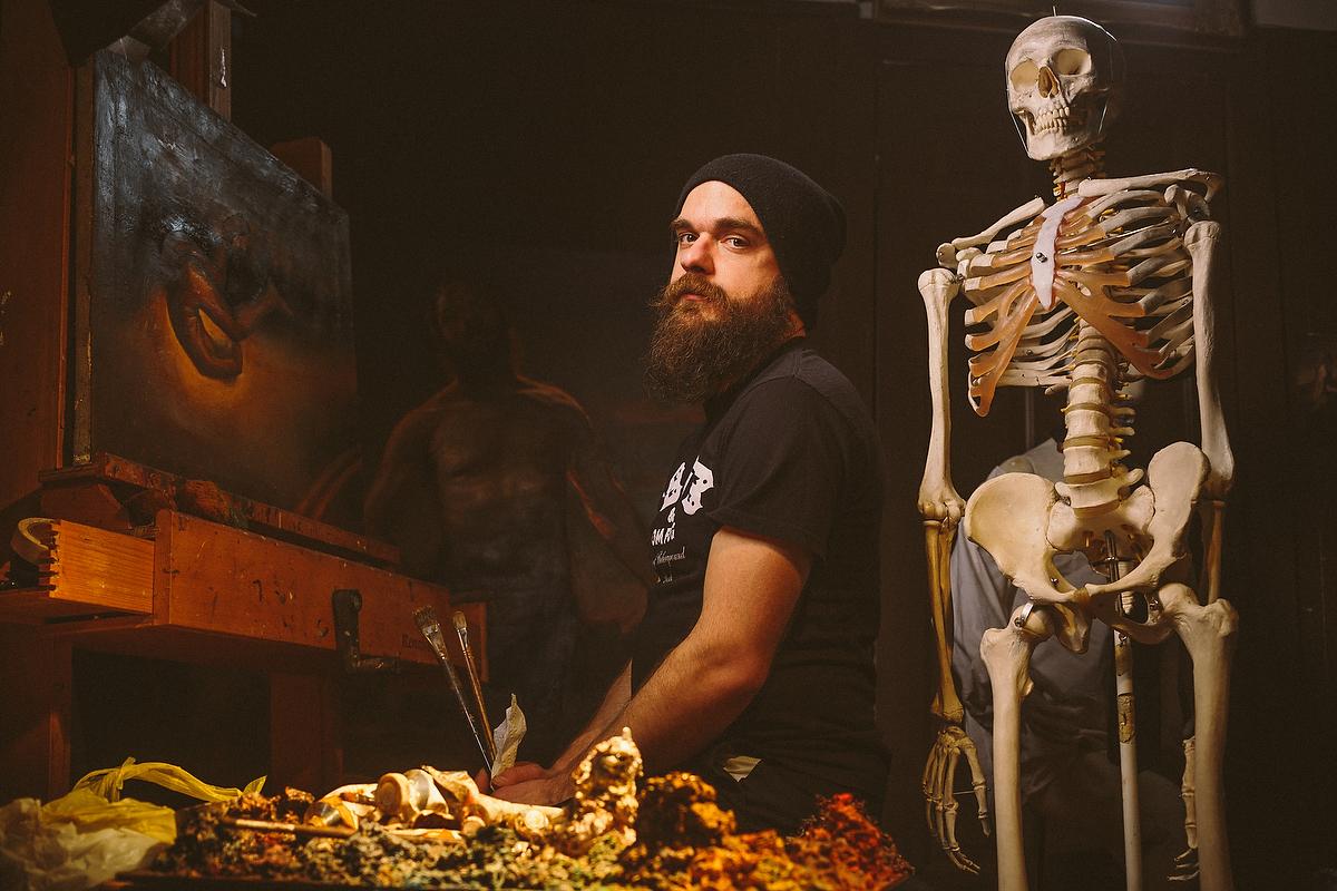 Stephen Cefalo in his studio in North Little Rock, Arkansas. February 2014. Photo credit: Jacob Slaton