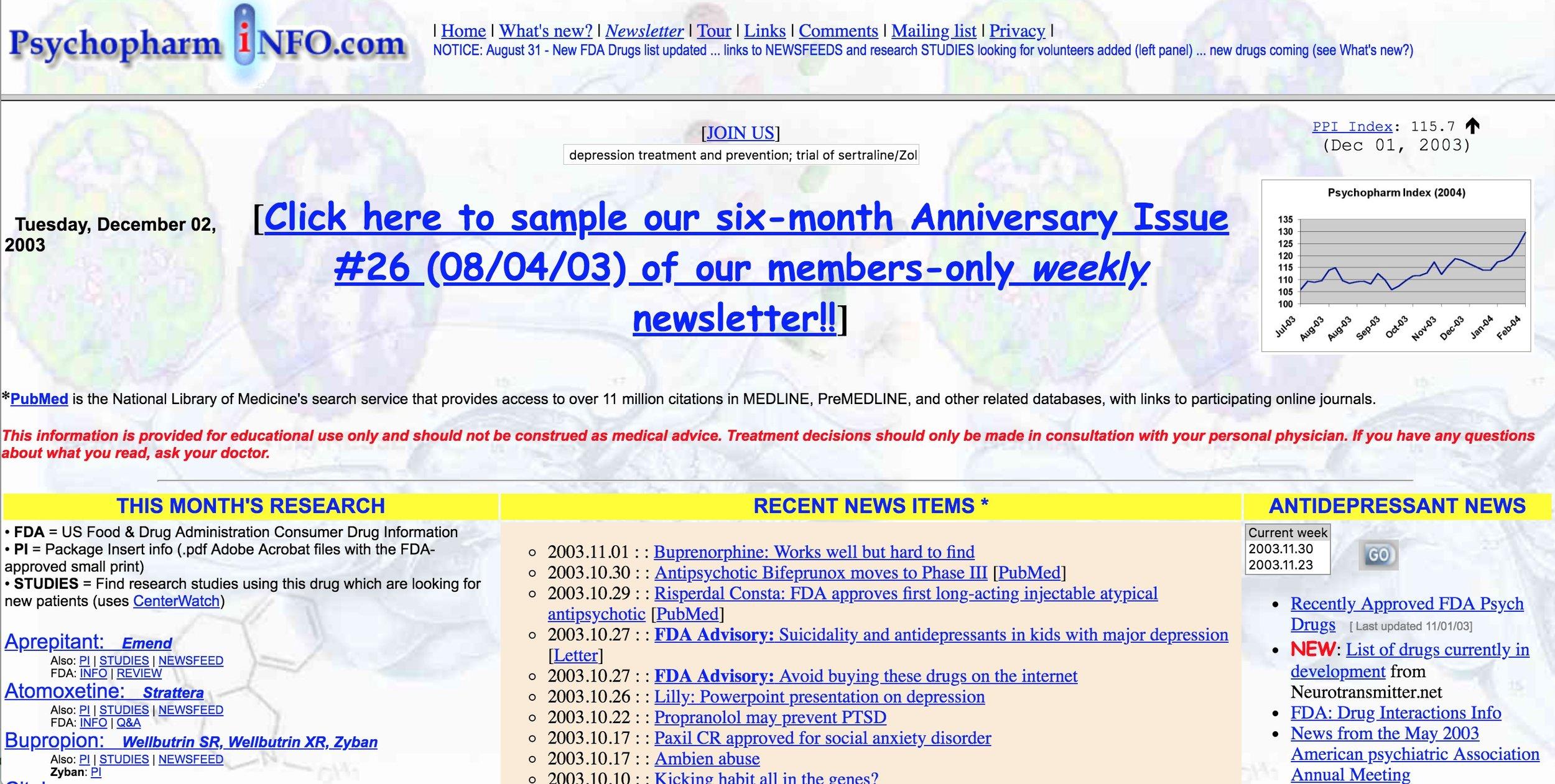 {PsychopharmINFO screenshot from 2003.}