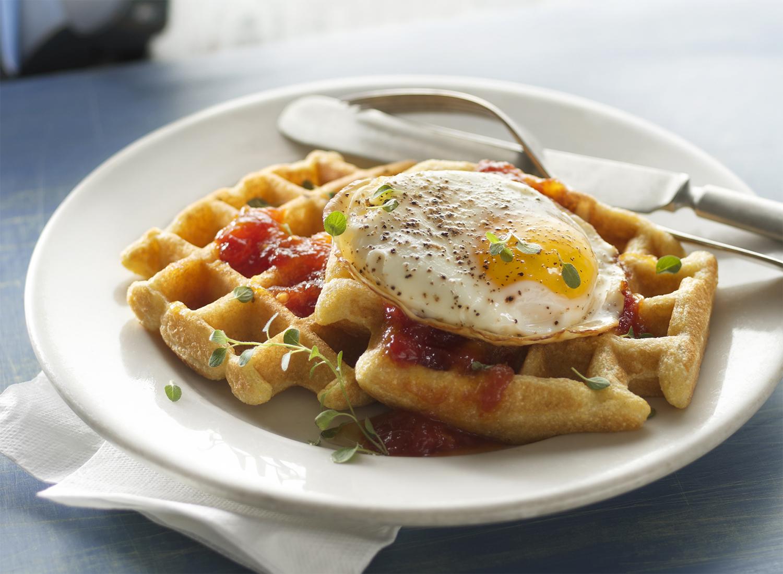 Savory Cornmeal Waffles with Tomato Jam and a Fried Egg | Tony K
