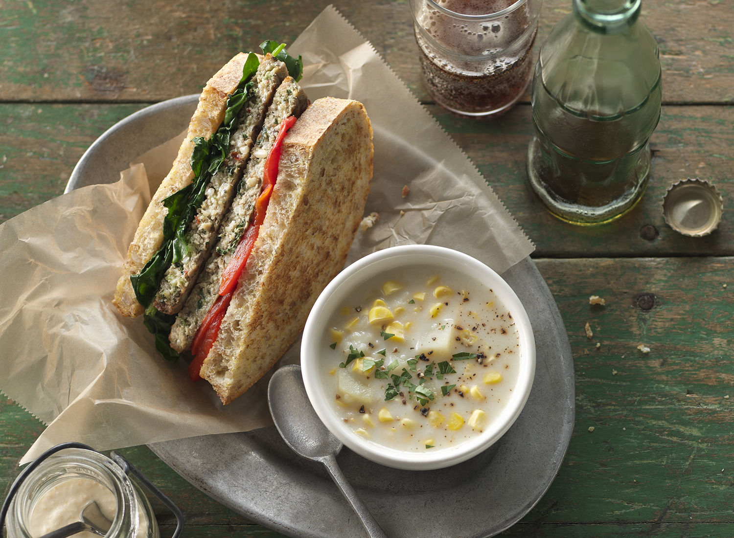 Spinach and Roasted Red Pepper Turkey Sandwich | Tony Kubat Phot