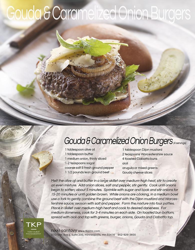 Carmelized Onion & Gouda Burger | Tony Kubat Photography