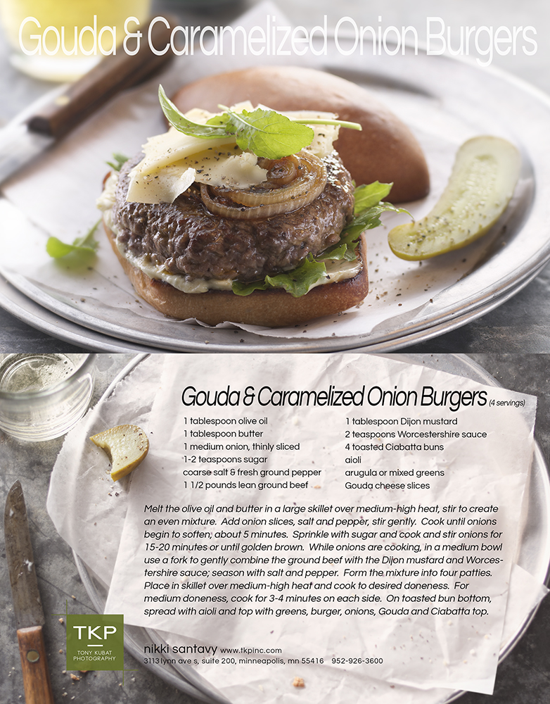 Carmelized Onion & Gouda Burger | Tony Kubat Photography