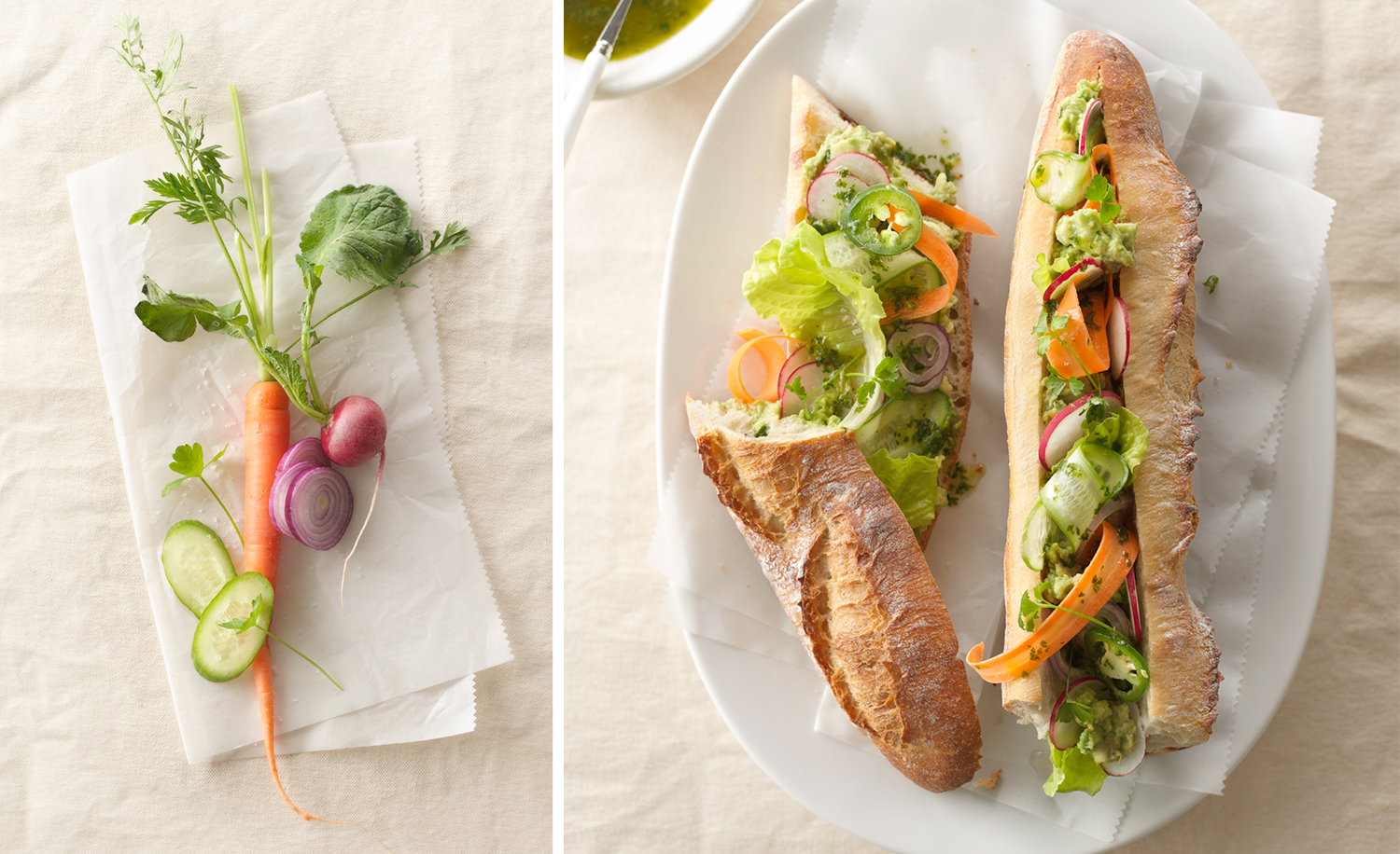 Vegetables And Baguette Sandwich | Tony Kubat Photography