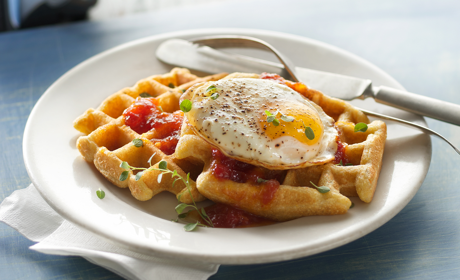 Savory Cornmeal Waffles with Tomato Jam and a Fried Egg | Tony K