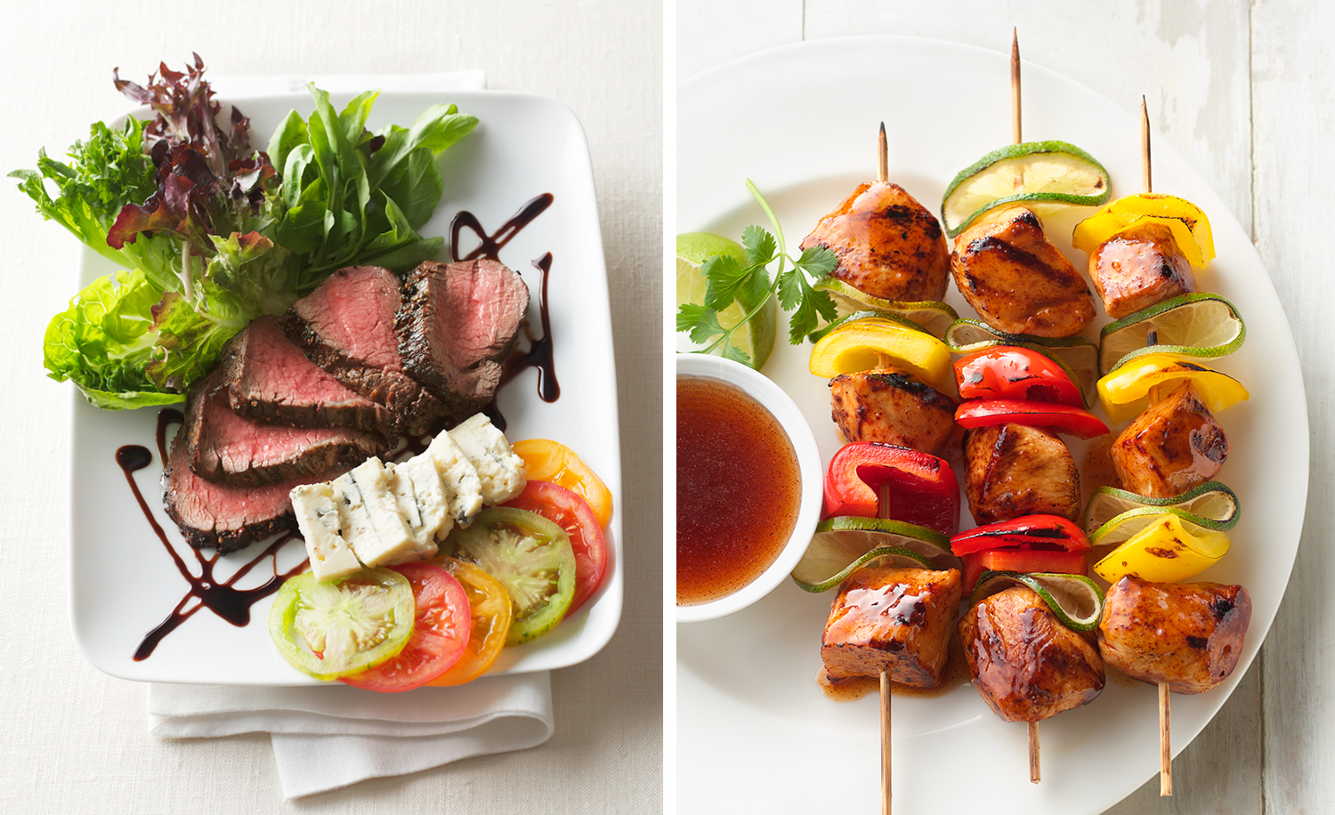 Peppercorn Steak Salad and Chicken Kebabs | Tony Kubat Photograp