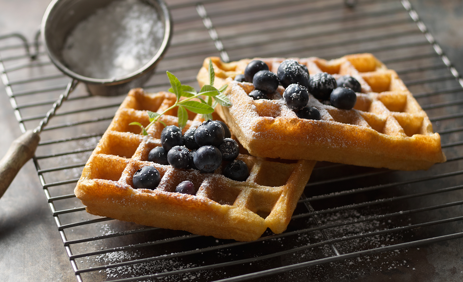 Sweet Cornmeal Waffles with Blueberries | Tony Kubat Photography